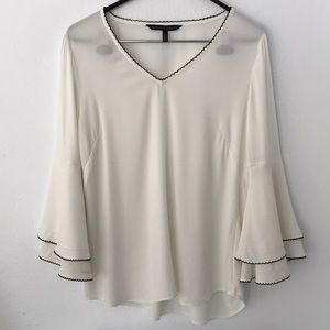 WHBM Piped Ruffle Sleeve V Neck Blouse